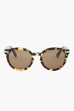 SHIPLEY & HALMOS Yellow Tortoiseshell Round Edison Sunglasses