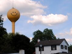 Smiley Face water tower in Eagle, Wisconsin. Came here all the time growing up.