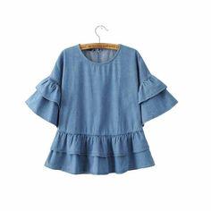 Women sweet double ruffles short sleeve denim shirts blue cotton blouse ladies summer fashion casual solid tops blusa LT1485