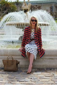 one // Jacket: Jcrew (current but appears to be sold out- another cute stripe jacket here). Dress: Topshop (similar here). Shoes: Madewell. Bag: Celine. Sunglasses: Karen Walker Deep Freeze. Lips: MAC 'Ruby Woo'.