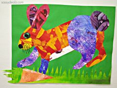 Eric Carle Painting Style Rabbit Craft For Kids! #Bunny rabbit art project #Easter #DIY | http://www.sassydealz.com/2014/01/eric-carle-painting-style-rabbit-craft-kids.html