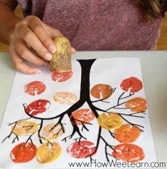 Con patatas u otros alimentos, podemos utilizarlos para crear sellos y plasmarlo … – Basteln – herbst Kids Crafts, Fall Crafts For Kids, Thanksgiving Crafts, Toddler Crafts, Art For Kids, Autumn Art Ideas For Kids, Summer Crafts, Easter Crafts, Tree Crafts