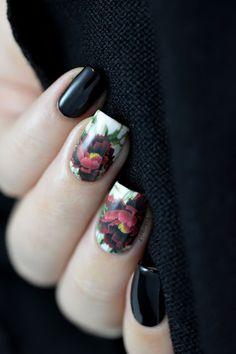 Dark flowers - floral water decals nail art