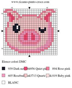 cochon - pig - point de croix - cross stitch - Blog : http://broderiemimie44.canalblog.com/: