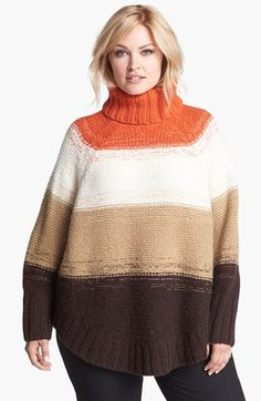 MICHAEL Michael Kors Stripe Poncho Sweater (Plus Size) available at #Nordstrom