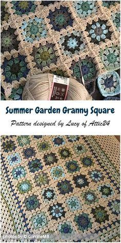 Crochet For Beginners Summer Garden Granny Square Blanket Idea Crochet For Beginners Blanket, Sewing For Beginners, Baby Blanket Crochet, Crochet Blankets, Crochet Baby, Crochet Summer, Funny Crochet, Crochet Afgans, Afghan Blanket
