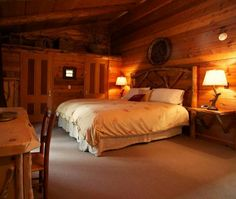 I could sleep very nicely in this cozy cabin style bedroom☆★☆