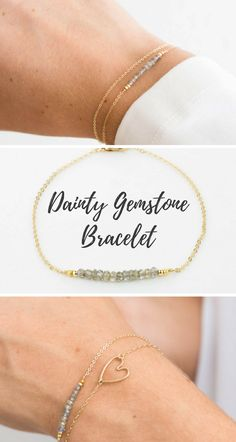 Dainty Gemstone Bracelet. Delicate Chain and a bar of gorgeous little birthstones . The Gemstone Bar can be customized with your favorite stone! This sweet, dainty piece can be made in 14k gold fill, rose gold fill or sterling silver. $33