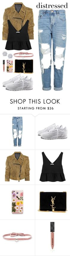 """Untitled #2344"" by danielasilva12 ❤ liked on Polyvore featuring Topshop, Reebok, Burberry, Elizabeth and James, Yves Saint Laurent, DANNIJO and Effy Jewelry"