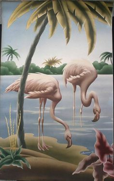 Vintage Mid Centry Turner Flamingo Print