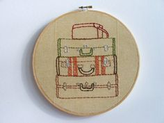 Hand Embroidery Hoop Suitcase Stack by Moxiedoll on Etsy, $60.00
