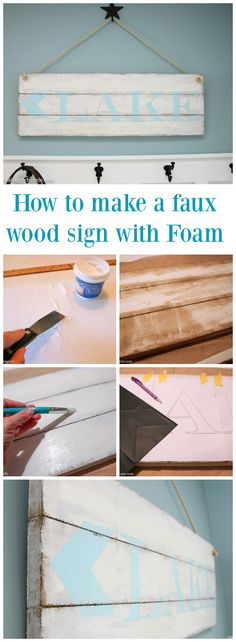 How to make a faux wood sign with FOAM tutorial at thehappyhousie