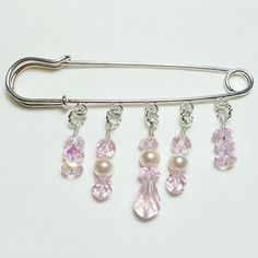 Pink Prism Pearl Crystal Beaded Shawl Brooch Kilt Pin