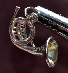 Vintage Sterling Silver, 3D French Horn, Charm / Pendant