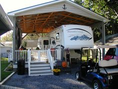 Travel Trailer with Porch . Travel Trailer with Porch . Wiki Article History Of Trailblazer Camper Trailer 1960 Porch For Camper, 5th Wheel Living, Rv Shelter, Trailer Deck, Rv Carports, Rv Lots, Trailer Remodel, Camper Trailers, Travel Trailers