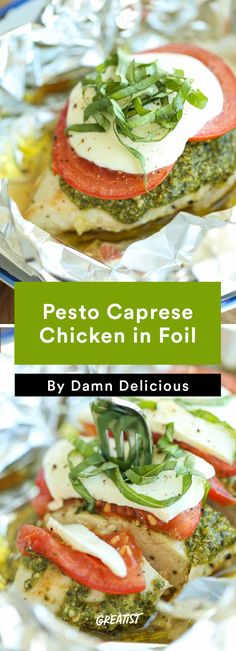 Pesto Caprese Chicken in Foil Foil Packet Dinners, Foil Pack Meals, Foil Dinners, Easy Dinners, Clean Dinners, Pollo Caprese, Caprese Chicken, Pesto Chicken, Chicken In Foil