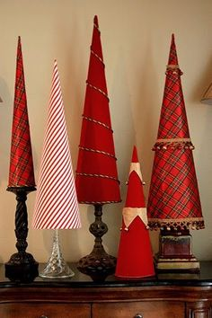 Diy christmas tree fabric cones