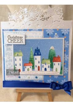 Sharon King - Twinkle Twinkle Edge'able die - Nordic CD Rom -Embossing folder Nordic Christmas Time - Sentiment from Nordic Christmas Cheer stamp - 7 x 7 card base Centura Pearl Hint of Silver - Ribbon, Embellishments - #crafterscompanion #Christmas
