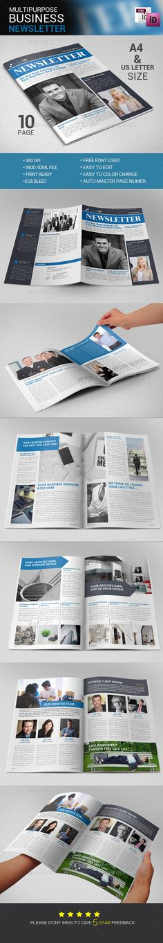 #Newsletter Template - Newsletters #Print #Templates Download here: https://graphicriver.net/item/newsletter-template/14174871?ref=alena994
