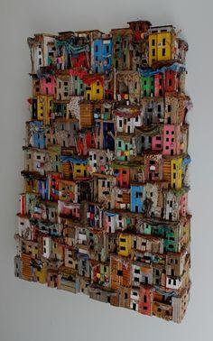 Eric Cremers - Mumbai (With images) Cardboard Sculpture, Cardboard Art, Sculptures Céramiques, Sculpture Art, Karton Design, Driftwood Crafts, Unusual Art, Collaborative Art, Assemblage Art