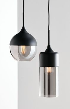 The Beacon Lighting Lunar 1 light round pendant in black with smoke glass.