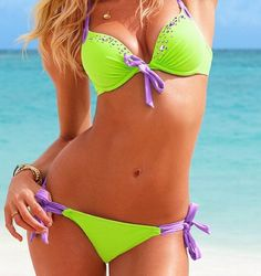 Lime green and purple bikini