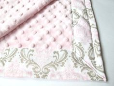Damask Baby Blanket - Pink, Beige and Cream - Madison by Premier Prints - Cozy/Bella Pink - Pink Minky Dot - 26 x 30. $38.00, via Etsy.