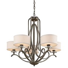 Five Light Olde Bronze Drum Shade Chandelier : SKU V2-42476oz | Light Brite Distributing, Inc