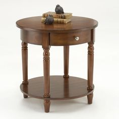 Bernards 7019 Round Accent Table with Drawer