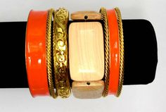 Wide Enamel Metal Colorful Gold Plated Women Bangles Mix with Square Wooden Handmade Elastic Bracelet.  2014 Fashion Bangle Set $5.00