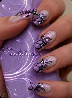 Nails are an integral part of style. Long nails and nail care leads to fashion statement. You will find information of all kinds with bridal nails. Fancy Nails, Cute Nails, Pretty Nails, French Nail Designs, Cool Nail Designs, Pretty Designs, Wild Nail Designs, Fabulous Nails, Gorgeous Nails