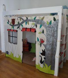 lit cabane pour les petits lit cabane surelev avec. Black Bedroom Furniture Sets. Home Design Ideas