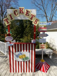 Carnival Ticket Booth and Sign Post!