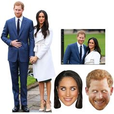 Royal Wedding 2018 Prince Harry and Meghan Markle Cutout and Mask Bronze Package Meghan Markle Engagement, 2 Princes, Prince Harry And Meghan, Party Themes, Masks, Bronze, Decorations, Couples, Birthday
