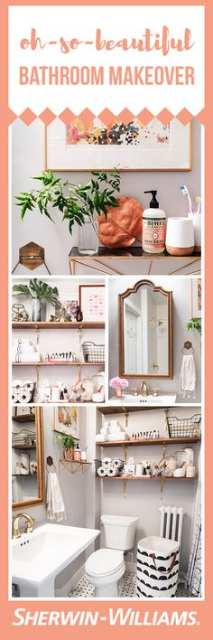 For her first major home renovation, Nole from lifestyle and design blog @beautifulpaper took on her dark and cluttered bathroom to create a gorgeous, bright space. Inspired by a classic 1920s aesthetic, this bathroom features a mixture of black and white patterns, brass accents and walls in subtle Zircon SW 7667 with ceilings in a slightly lighter shade of Pure White SW 7005. What an amazing transformation.