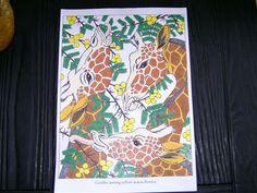 Giraffen door mij gekleurd