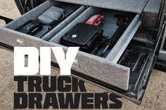 Read DIY Truck Drawers for Guns and Gear from Iain Harrison on June 1 2019 for Recoil Diy Storage Bed, Truck Bed Storage, Trailer Storage, Truck Bed Drawers, Bed Tools, Truck Bed Camping, Camping Beds, Truck Toppers, Truck Tool Box