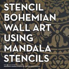 Learn how to stencil DIY boho chic wall art using the Prosperity Mandala Stencil from Cutting Edge Stencils. Stencil Wall Art, Stencil Decor, Damask Stencil, Stencil Patterns, Stencil Designs, Diy Wall Art, Pattern Art, Stencil Concrete, Geometric Stencil
