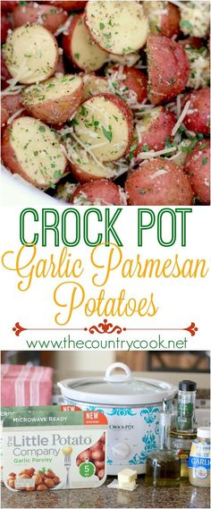 Crock Pot Garlic Parmesan Little Potatoes recipe from The Country Cook. These can be made in the microwave or the slow cooker.(Little Potato Recipes) Crock Pot Food, Crockpot Dishes, Crock Pot Slow Cooker, Slow Cooker Recipes, Cooking Recipes, Healthy Recipes, Potatoes In Crock Pot, Crock Pots, Easy Recipes