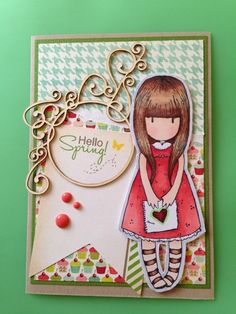 "Tarjeta de scrapbooking Primavera. Muñeca Gorjuss ""Te dí mi corazón"". Pretty Cards, Cute Cards, Diy Cards, Craftwork Cards, Shabby Chic Cards, Art Impressions, Pocket Letters, Card Making Inspiration, Copics"
