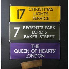 Coloured London Bus Special Destination Blind - Christmas Lights Service - Yellow - Pedlars Friday Vintage