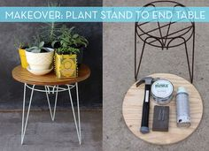 Rusty Plant Stand Turned End Table Makeover