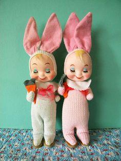 Vintage Pair of Gund Easter Bunny Children by SongbirdSalvation