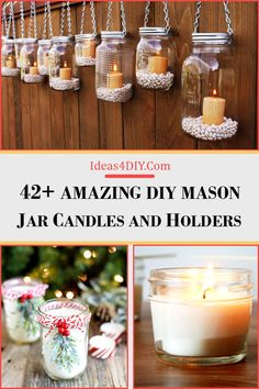 Amazing DIY Mason Jar Candles and Holders Mason Jar Candle Holders, Mason Jar Candles, Diy Candles, Cheap Mason Jars, Mason Jar Diy, Easy Hobbies, Mason Jar Projects, Diy Store, Christmas Accessories