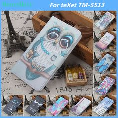 Hot! Cartoon Pattern PU Leather Cover Case Flip Card Holder Cover For teXet TM-5513 Wallet Phone Cases