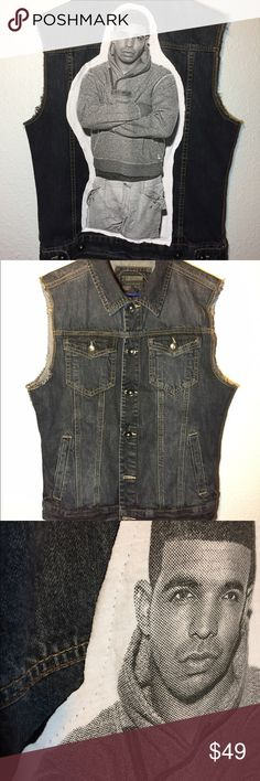 21 Men Dark Denim Vest w/ Drake Patch Heavy denim vest with cotton Drake patch. Vest is in great condition and patch is thrifted. Forever 21 Jackets & Coats Vests