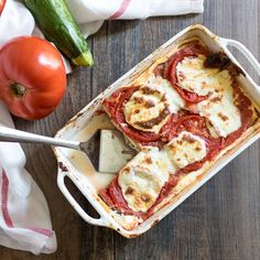 Grilled Vegetable Lasagna: Farmer's market bounty is grilled up and layered with a ricotta cheese mixture and fresh tomatoes for a light and healthy version of lasagna that is perfect for summer.