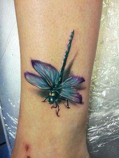 3D dragonfly tattoo