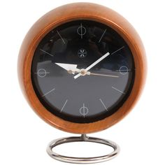 Walnut chrome and glass table clock by George Nelson for Howard Miller, circa early Pillow Storage, Storage Bins, Futuristic Furniture, Modern Furniture, Furniture Design, Painted Brick Fireplaces, Howard Miller, George Nelson, Antique Clocks