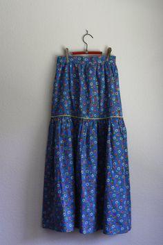 vintage bright blue prairie skirt by acupfullofsunshine on Etsy, $24.00
